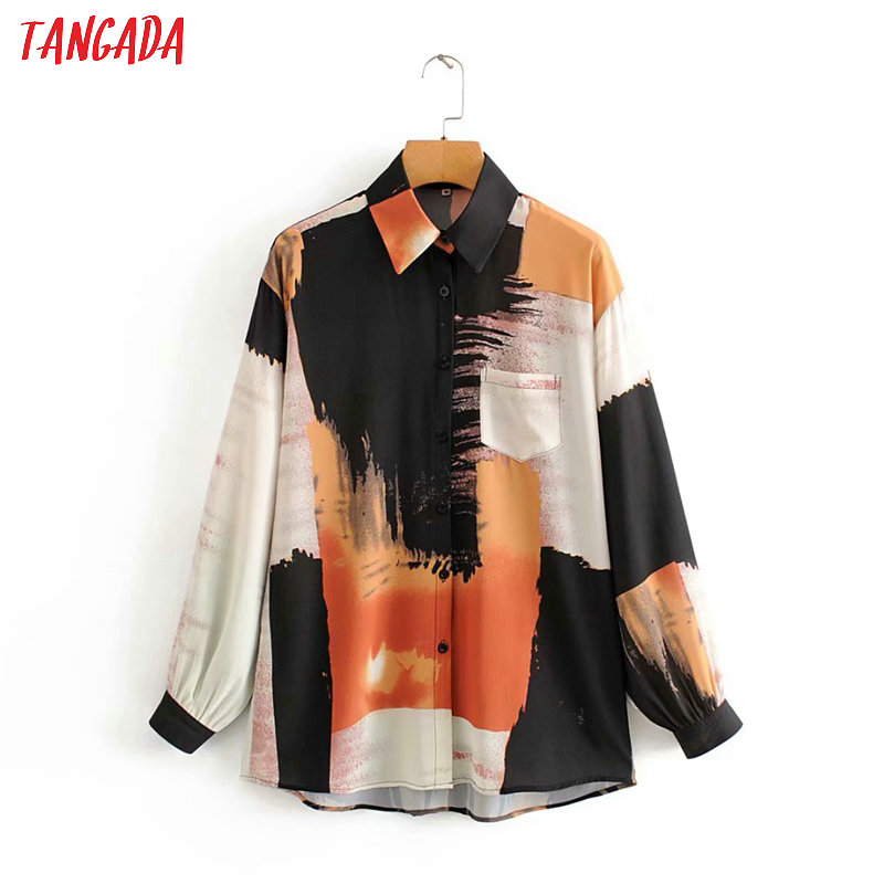 Tangada Women Chic Oversized Painting Blouse Long Sleeve Female Casual Print Shirts Stylish Tops Blusas 2J07