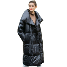 Woman Parkas Padded Belt Stand-Collar Long-Jacket Female Coat Oversized Shiny Thick Casual