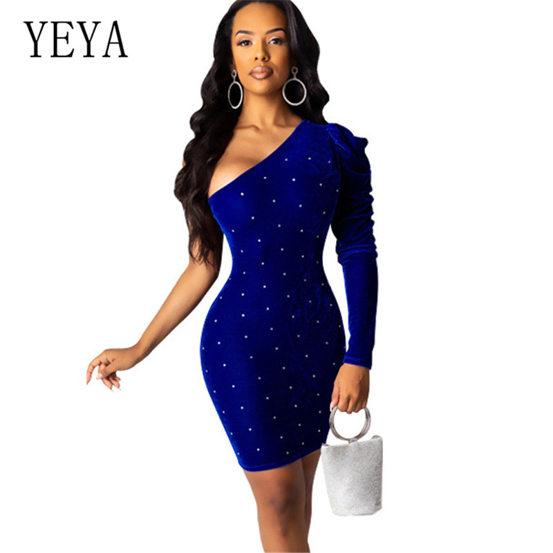 YEYA One Shoulder Sexy Club Party Bodycon Irregular Hot Drilling Dress Women Long Sleeve Bandage Casual Wrap Mini