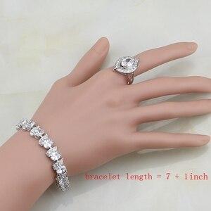 Image 5 - Natürliche 925 Sterling Silber Braut Schmuck Weiß Zirkon Schmuck Sets Für Frauen Hochzeit Ohrringe Anhänger Halskette Ringe Armband