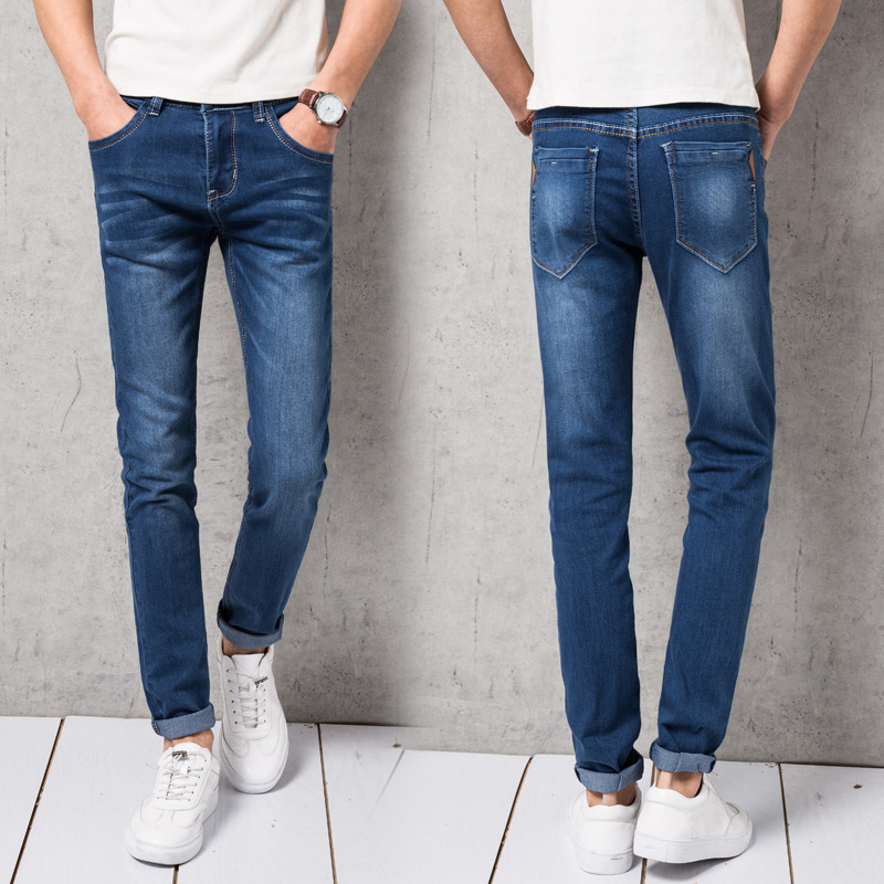 Young MEN'S Elasticity Slim Fit Jeans Korean-style Fashion Medium Waist Skinny Pants Youth Popularity Trousers