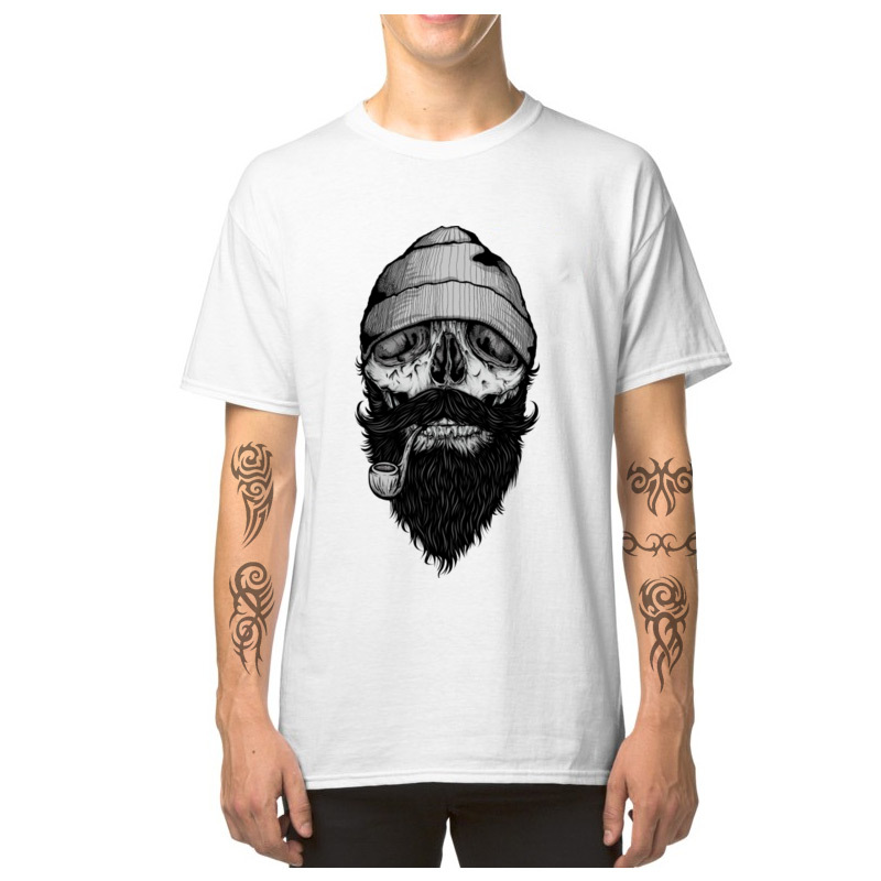 Bone Sailor Tshirts Skull Designer T-shirt Men Short Sleeve Retro Shirt 100% Cotton Fabric O-Neck Mens Tees Beard Hipster Tops