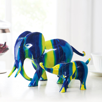 Painting Lucky Elephant Arts Sculpture Decoration Abstract Animal Sculpture Statue Creative Home Decor Resin Crafts R4480