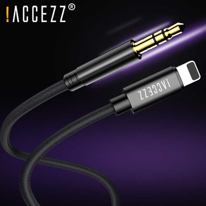 ! ACCEZZ AUX Car Audio Kabel Voor iphone 7 8 10 X XS MAX XR Converter 3.5mm Jack Headphone Adapter AUX splitter Cord Dvd-speler 1M