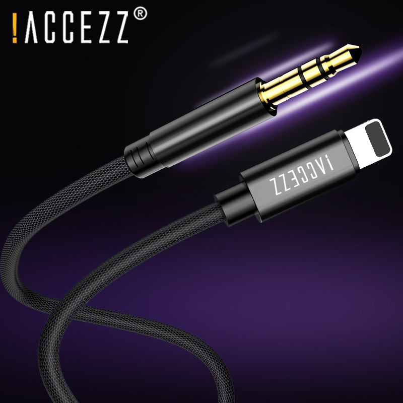 !ACCEZZ AUX Car Audio Cable For Iphone 7 8 10 X XS MAX XR Converter 3.5mm Jack Headphone Adapter AUX Splitter Cord DVD Player 1M