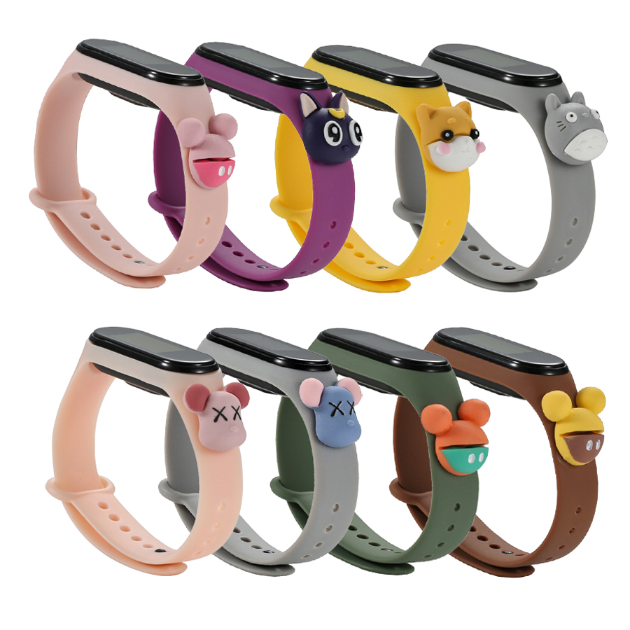 For Mi Band 4 3 Cartoon Bracelet Smart Watch Strap Replaceable For Xiaomi Mi Band 3 4 Strap Silicone Bracelet Sport Wristband