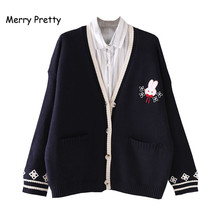Merry Pretty Winter Rabbit Embroidery Cardigans Women Jacquard Knitting Single-breasted Double Pocket V-neck Sweet Sweaters Top