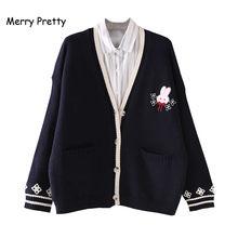 Merry Pretty – cardigan brodé de lapin pour femme, tricot Jacquard, simple boutonnage, Double poche, col en v, chandail doux, haut, hiver