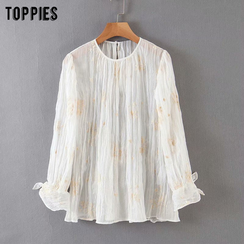 Summer White Chiffon Blouses Tops Women Floral Embroidered Shirts Long Sleeve Ladies Tops 2020