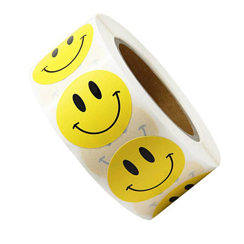 Smiley Face Sticker 500 Pcs/roll for Kids Reward Yellow Dots Labels Happy Smile Toys - discount item  35% OFF Classic Toys
