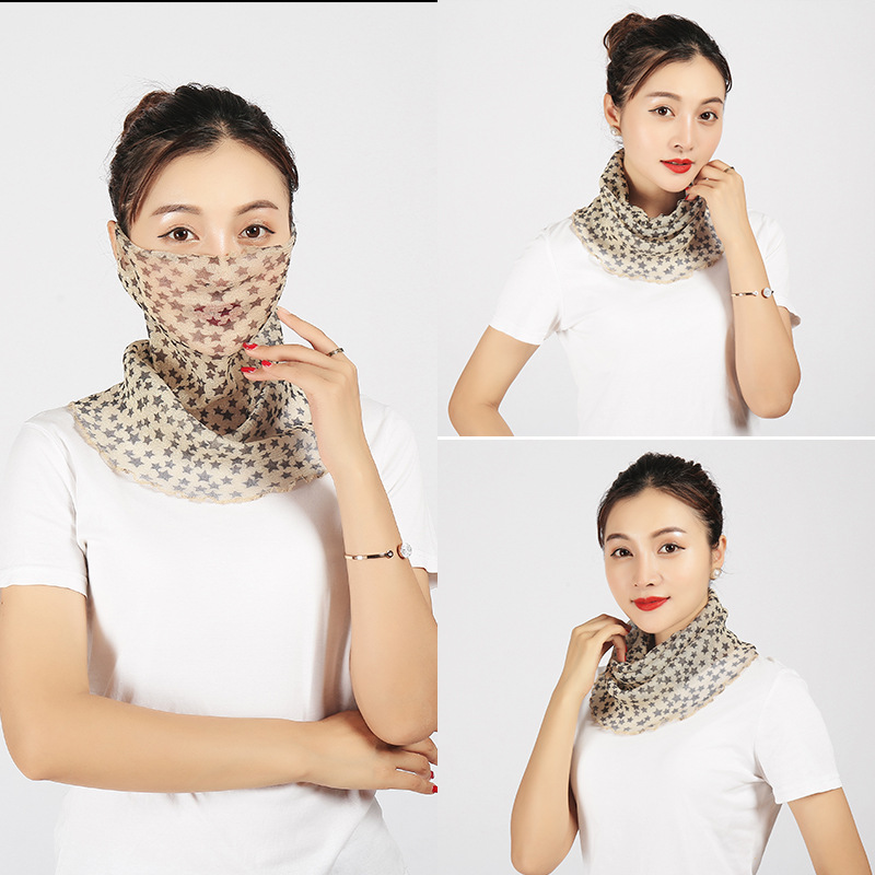 Spring And Summer Fashion Printed Ultra Large Neck Guard Sun-resistant Silk Scarves Outdoor Cycling Mask College Style Anti-Ligh