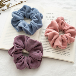 1PC Woolen Cloth Hair Rope Soft Velvet Scrunchies Women Elastic Hair Rubber Bands Solid Color Ponytail Holder Hair Accessories