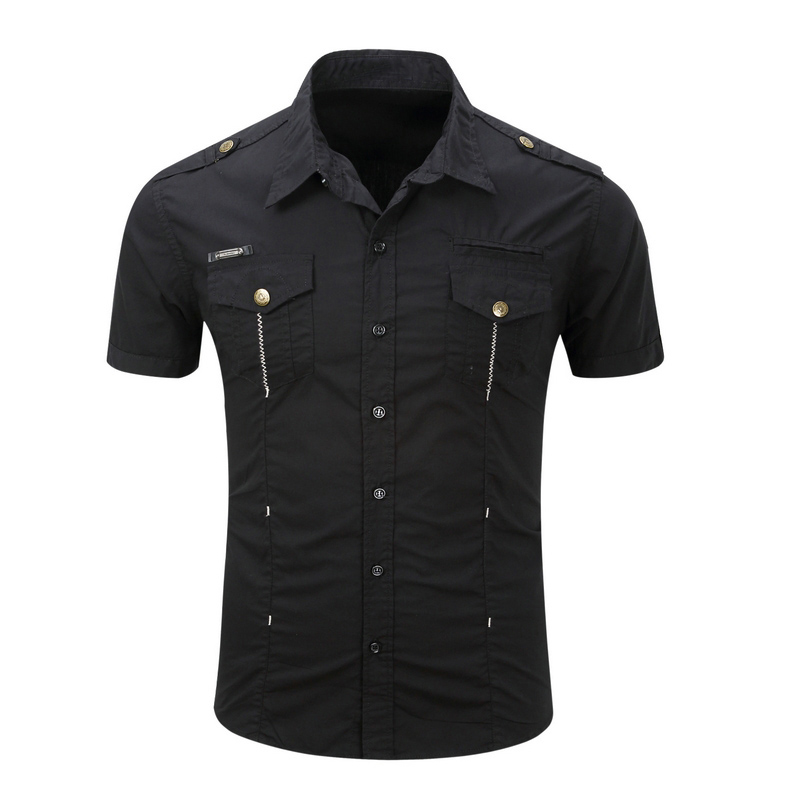 New Men's Shirts Short Sleeve Military Style Summer Male Solid Pure Cotton Casual Shirt Men Brand Hunter Clothing AJ558