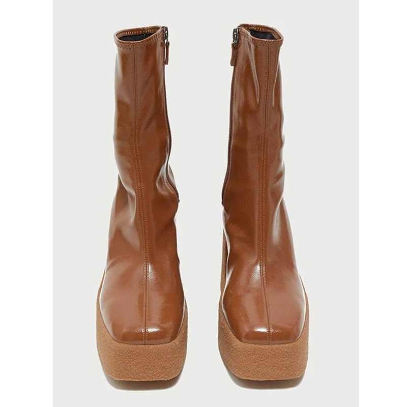 Nuevos zapatos de cuero elásticos de marca Otoño Invierno 2020 para mujer, botines sexis de tacón alto, Botas Largas de plataforma marrón y gris