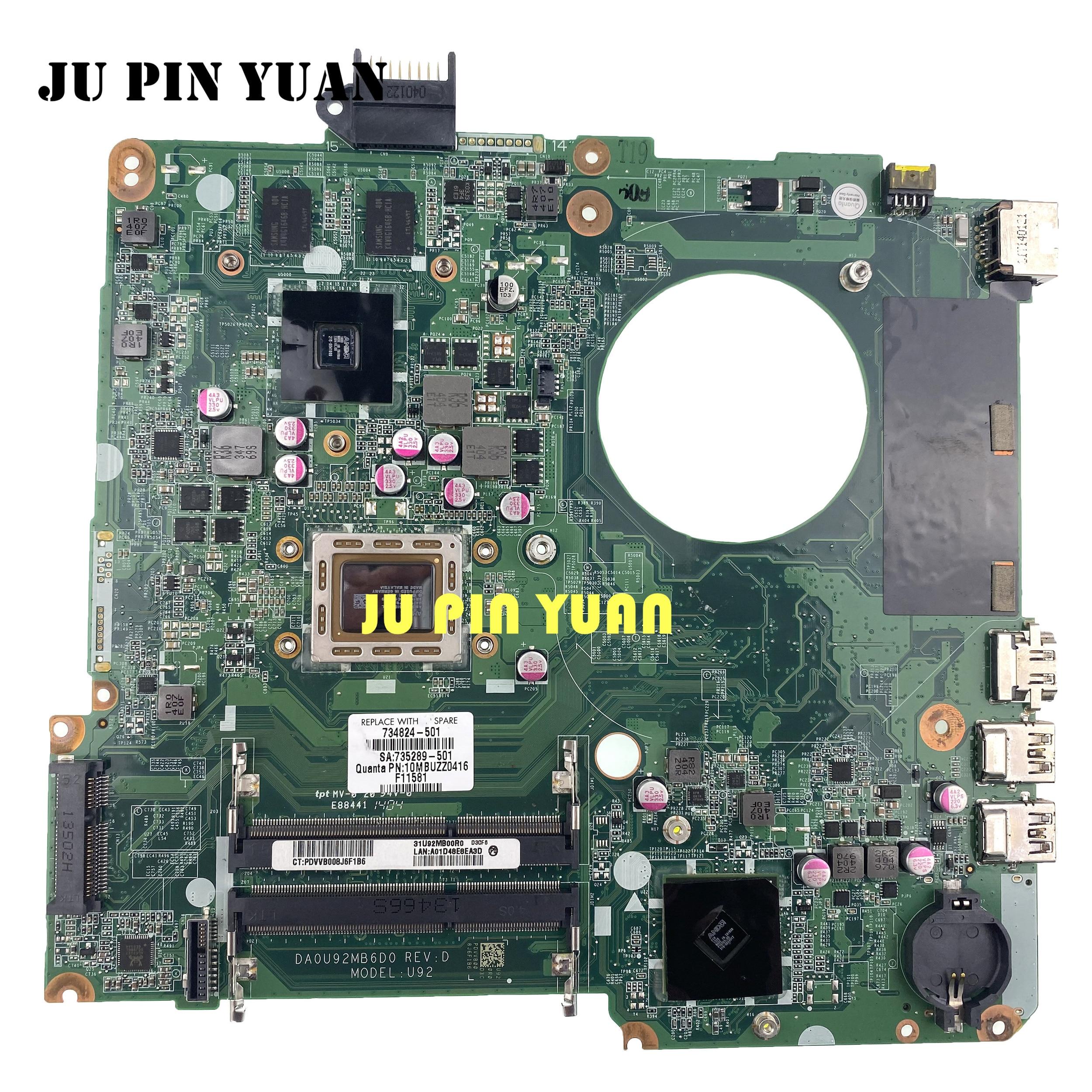 For HP Pavilion 15-N 15Z-N100 15Z-N Series Laptop Motherboard 734824-501 734824-001 DA0U92MB6D0 8670M/2G A76M A10-5745M Maiboard