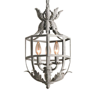 Retro grey/gold cage chandelier 3 light metal lustre russian suspended light for kids/baby room nursery kitchen dining room lamp
