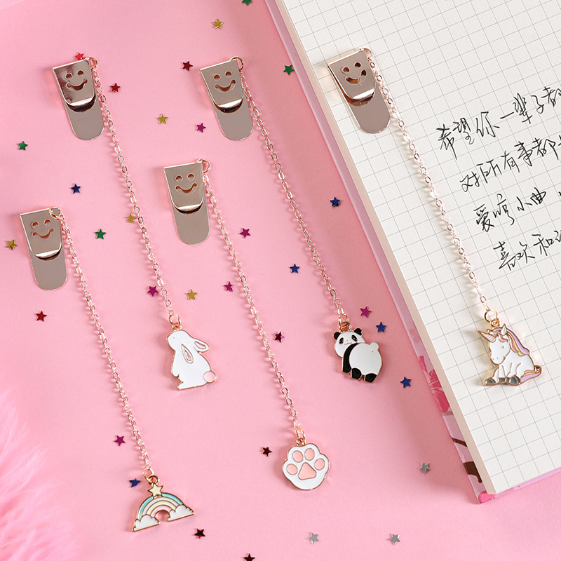 Cute Metal Bookmark Cartoon Animal Panda Rainbow Paw Chain Pendant Bookmarks Stationery For School Office Supply