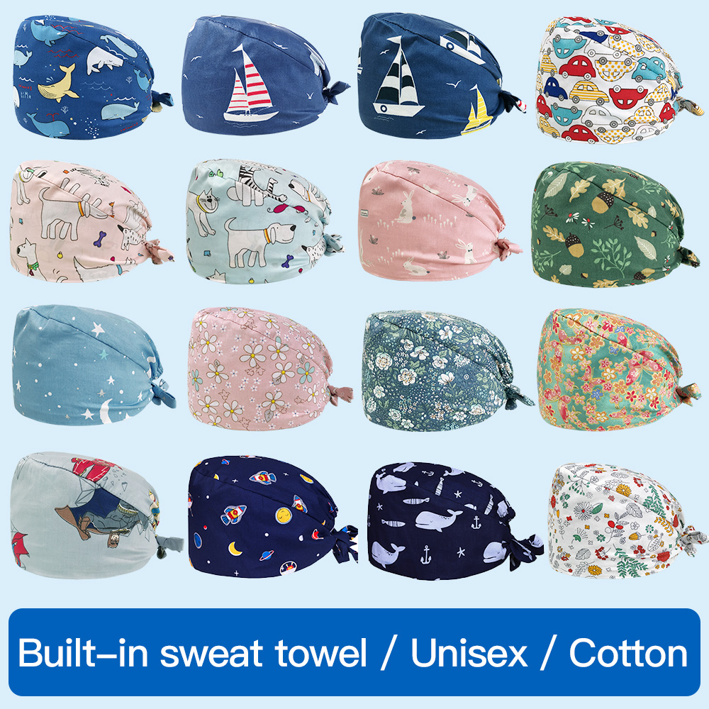 Unisex Medical Scrub Cap High Quality Nursing Hat Cartoon Printing Pet Hospital Doctor Hat Surgical Dental Clinic Medical Cap