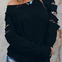 Женская толстовка с леопардовым принтом на одно плечо, Женская толстовка Харадзюку, черные топы с капюшоном, корейские толстовки Харадзюку с длинными рукавами