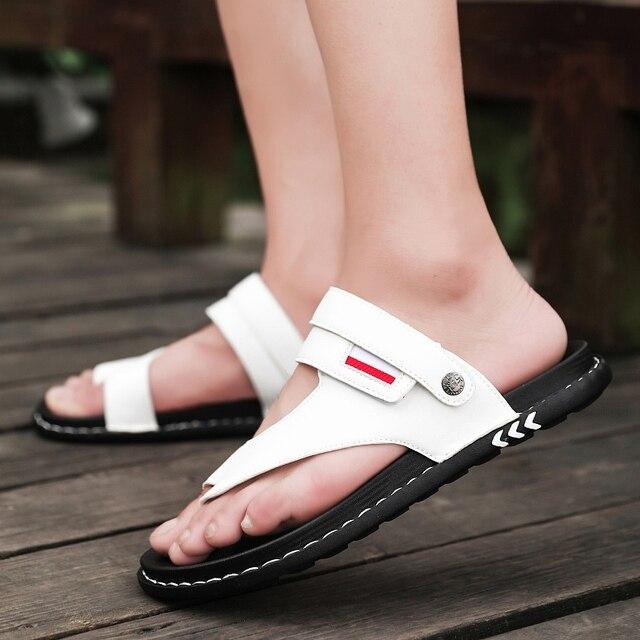 Sandálias masculinas de couro confortáveis, sandálias masculinas de designer para trilha e praia, verão, nova, 2019