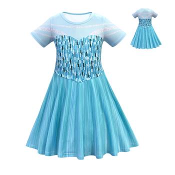 Girl Elsa Cosplay Dress Anna Cosplay Costume Short Sleeve Princess Dress for Party Birthday Show Costumes tanie i dobre opinie liser Suknie Film i TELEWIZJA Dziewczyny Zestawy Elsa Dress Poliester Kostiumy Girl costume Anna Dress