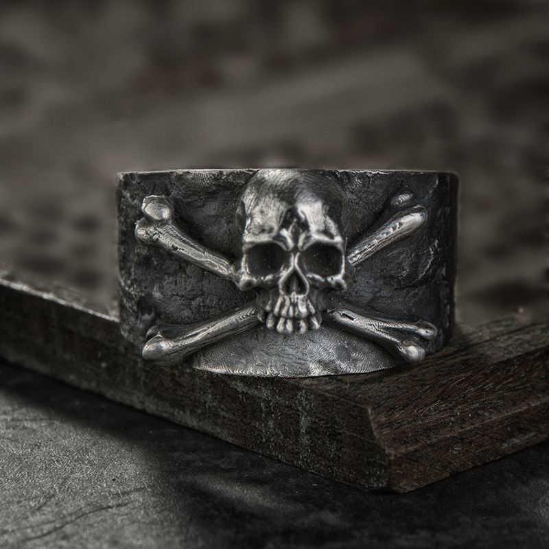 Мужские Винтажные скрещенные кости череп кольцо из нержавеющей стали тонкая