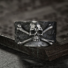 Mens Vintage Crossbones Skull Stainless Steel Ring Fine Detail Punk Biker Jewelry Gift