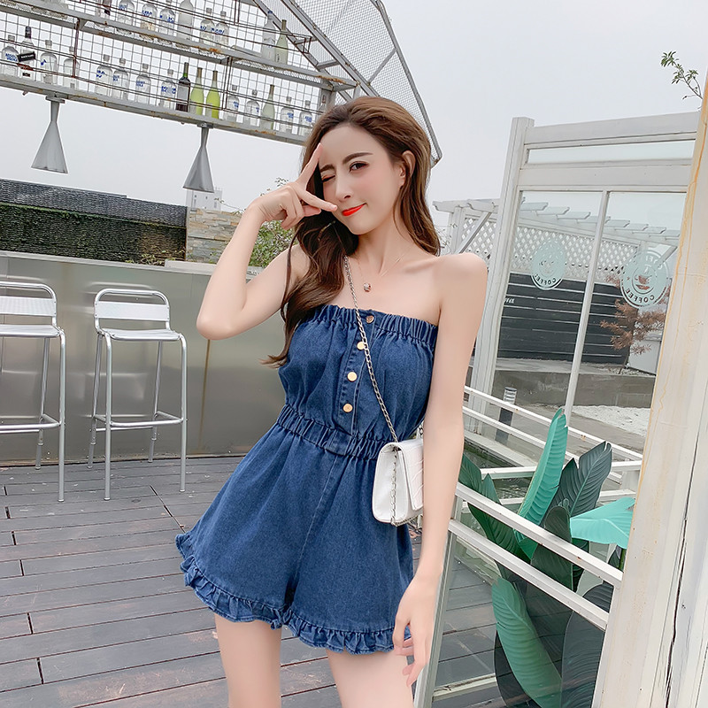 Summer Korean Sexy Word Collar Wrapped Chest Breasted Breasted Conjoined Girl Waist Denim Wide Leg Shorts