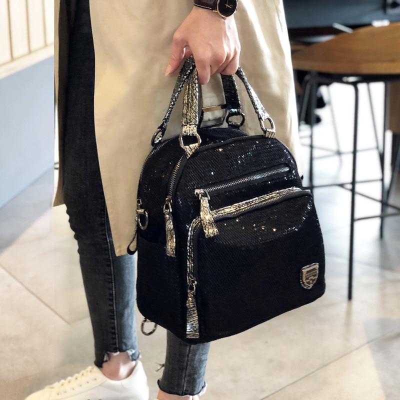 Mesh Netting Iridescent Paillette Handbag Female High Quality Sparkle Shiny Black Messenger Bag Women Fashion Daily Shoulder Bag