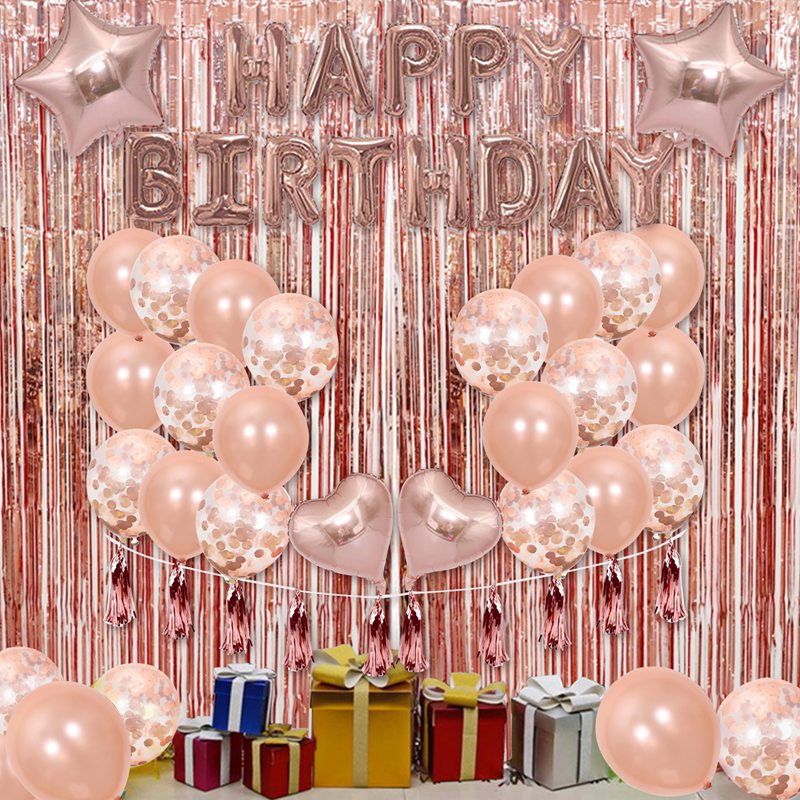 1 SetHappy Birthday Rose Gold Letter Foil Balloon Adult Birthday Party Decoration Confetti Rain Curtain Globos Anniversary-4