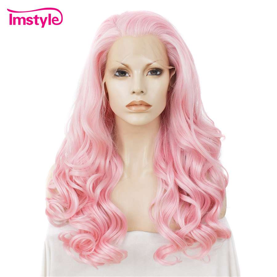 Imstyle Long Wavy Wig Heat Resistant Fiber Synthetic Lace Front Wig for Women 24 Pink Wig