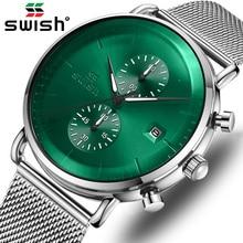 SWISH New Fashion Green Mens Watches Top Brand Luxury Waterproof Sports Chronograph Quartz Watch Men Silver Relogio Masculino