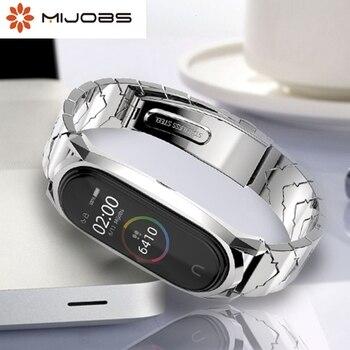 Mijobs Mi band 5 Strap Metal Stainless Steel Wristbands For XiaoMi Mi Band 3 Compatible Bracelet MiBand 4 3 Mi4 Correa Pulseira
