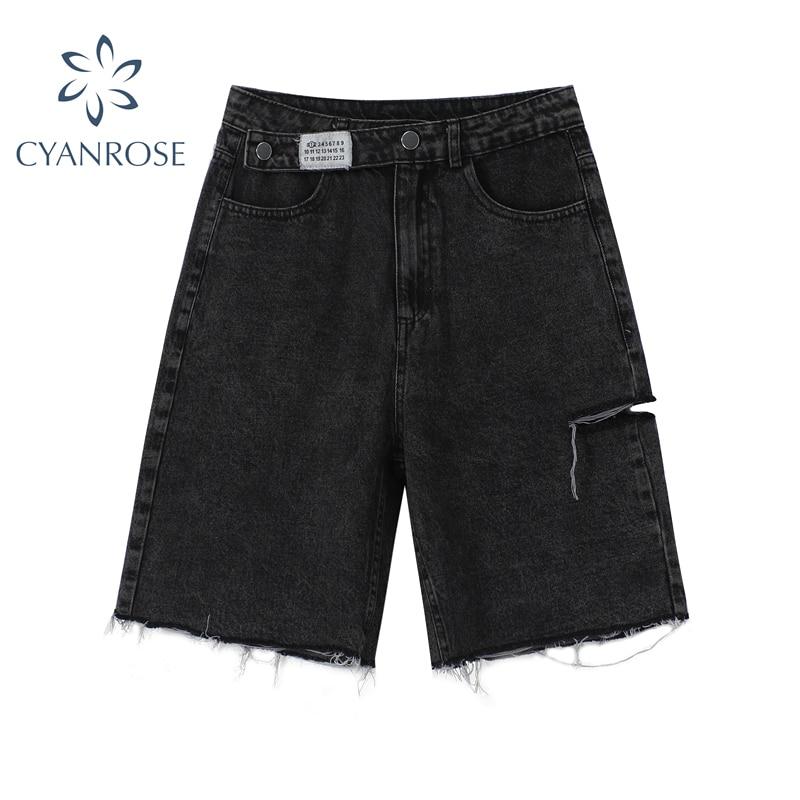 High Waist Denim Shorts Women Fashion 2021 New Casual Harajuku Wide Legs Ripped Jeans Short Washed Female Summer Cotton Shorts