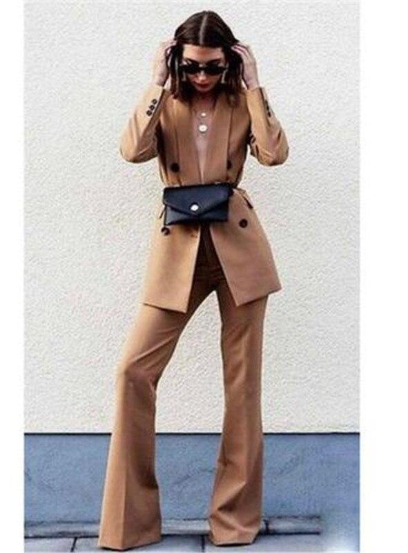 Brown Notch Lapel Lady Women's Suit Set Spring And Autumn Slim Professional 2 Piece Set Suit Women's Pantsuit Customi Made