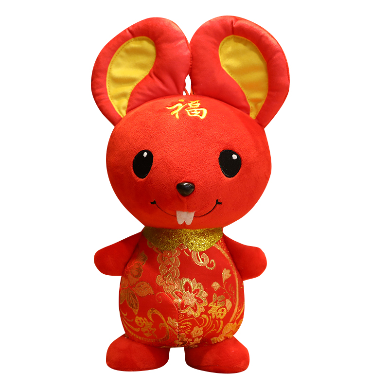 2020 Rat Year Kawaii China Dress Mascot Blessing Mouse Plush Rat In Tang Suit Soft Toys Chinese New Year Party Decoration Gift