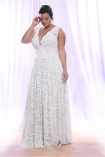 цены Plus Size Full Lace Wedding Dresses with Removable Long Sleeves V Neck Bridal Gowns Floor Length A Line Wedding Gown