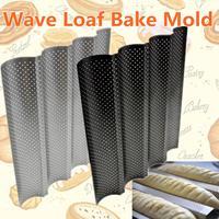4 dachrinnen Nicht stick Perforierte Baguette Pan Französisch Brot Pan Loaf Backen Backformen Mould Küche Appliance Teile auf