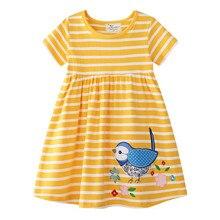 Прыжки метров летнее желтое платье принцессы вечерние платья для От 2 до 7 лет животные птицы с вышитыми цветами юбка-пачка для малышей плать...