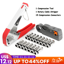 2020 High Quality Connector Compression Tool For RG6 RG59 F Fitting Coaxial Cable Crimper Striper  Wire Stripping Pliers Kit