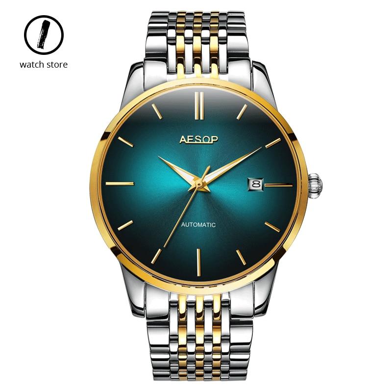 Uomini di Lusso Orologi Meccanici Verde Fantasma Acqua in Acciaio Inox di Business Orologi Luminosi Orologio Automatico Uomo Blu Reloj Hombre