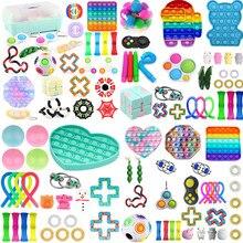 24 pacote quente brinquedo sensorial fidget conjunto de alívio do estresse brinquedos autismo ansiedade alívio estresse pop bolha brinquedo sensorial para crianças adultos