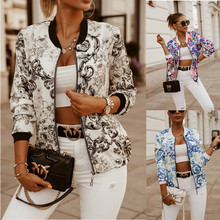 Leosoxs Женская куртка-бомбер с цветочным принтом и длинным рукавом, модное винтажное пальто на молнии, топы, элегантные тонкие базовые женские...