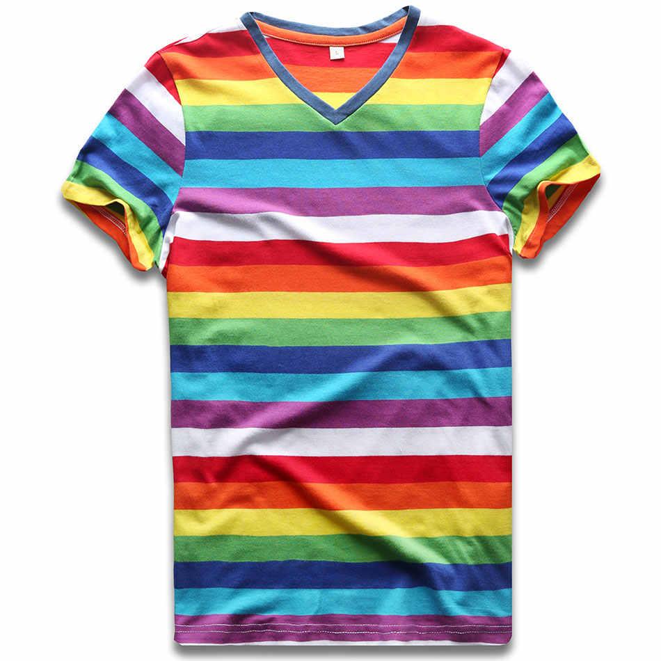 Nero Rosso Bianco Arcobaleno A Righe T Shirt per Le Donne Estate Manica Corta Rotonda Magliette per Le Donne Casual Fredda di Estate