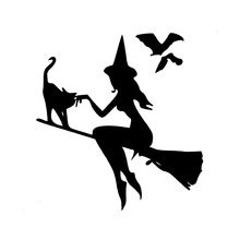 Car Sticker Witch On Broomstick With Cat & Bats Automobiles Motorcycles Exterior Accessories Vinyl Decal,15cm*14cm car sticker adventure awaits sunset camping travel automobiles motorcycles exterior accessories pvc decal 14cm 12 8cm
