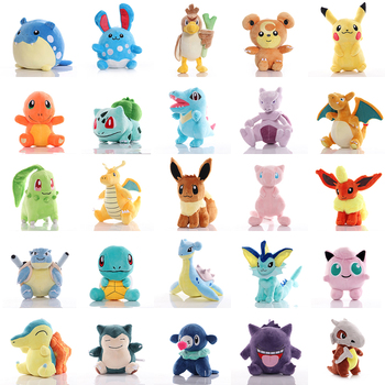 Pikachued Charmander Squirtle Bulbasaur plush toys Eevee Snorlax Jigglypuff Lapras Claw machine doll Christmas gifts for kids