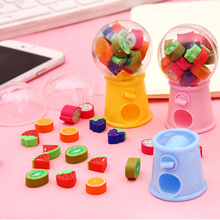 Gashapon Machines Shape Eraser Cute Fruit Erasers Students Stationery School Office Supplies Strawberry Watermelon Banana Orange