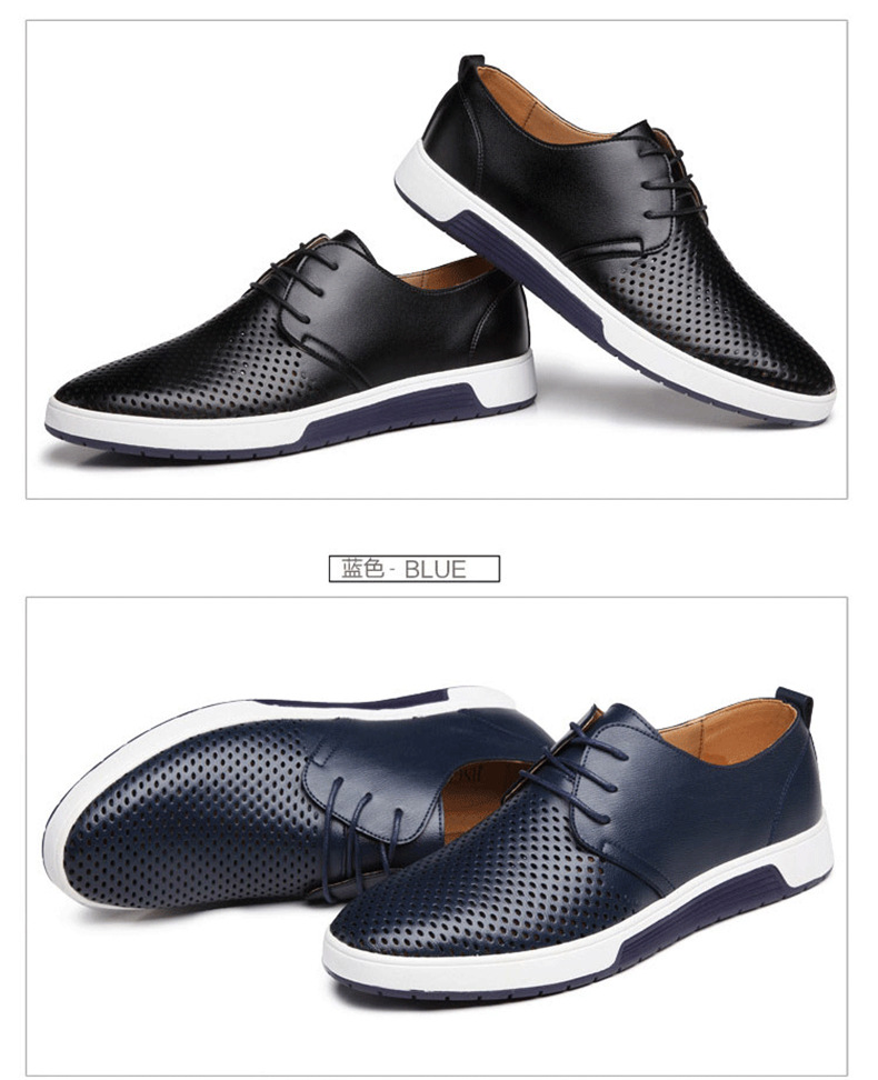 H51b89522b1884411b5d1b78fec2087415 New 2019 Men Casual Shoes Leather Summer Breathable Holes Luxurious Brand Flat Shoes for Men Drop Shipping