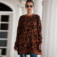 Leopard Print Pullover Long Sleeve Fashion Warm Comfortable Sweater for Autumn Winter Knitted Sweaters for Women