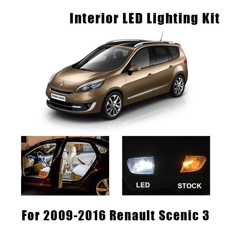 17pcs White Error Free Car LED Bulbs Reading Dome Map Trunk Door Light Interior Kit For 2009-2016 Renault Scenic III 3 MK3